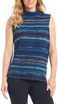 Allison Daley Mock Neck Sleeveless Print Space-Dye Rib Top