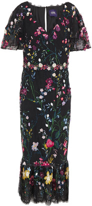 Marchesa Notte Floral-appliqued Embroidered Lace Midi Dress