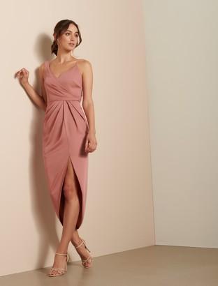 Forever New Hallie Drape Satin Midi Dress - Queen Mauve - 12