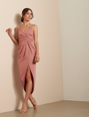 Forever New Hallie Drape Satin Midi Dress - Queen Mauve - 14