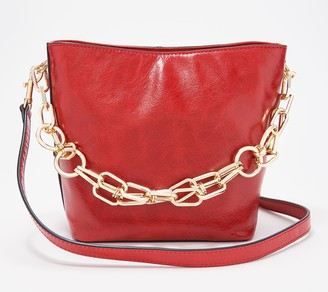 Vince Camuto Leather Bucket Bag with Chain Strap - Ivy