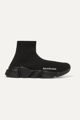 Balenciaga Speed Logo-print Stretch-knit High-top Sneakers - Black