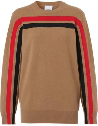 Burberry Stripe Detail Technical Cashmere Jumper