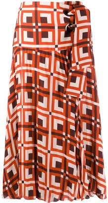 Johanna Ortiz Tie Waist Geometric Print Skirt