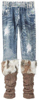 Hannah Banana Jean Printed Legging With Faux Fur Cuff (Big Girls)