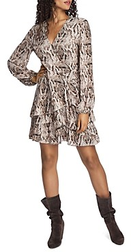 1 STATE 1.state Ruffled Snakeskin Print Dress