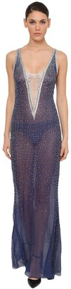 Azzaro CRYSTAL EMBELLISHED SILK CHIFFON DRESS