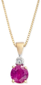 Macy's Ruby (1/2 ct. t.w.) and Diamond Accent Pendant Necklace in 14k Gold