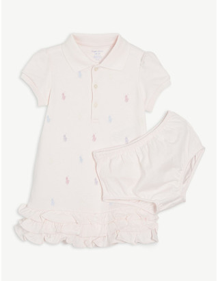 Ralph Lauren Embroidered logo cotton dress and bloomers set 3-24 months