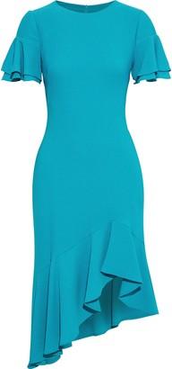 Black Halo Ruiz Asymmetric Ruffled Crepe Dress