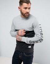 Timberland Sleeve Logo Slim Fit Crew Neck Sweat 2 Tone In Black/grey