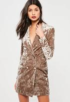 Missguided Crushed Velvet Blazer Dress