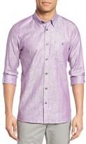 Ted Baker Men's Laavno Extra Trim Fit Linen Blend Sport Shirt