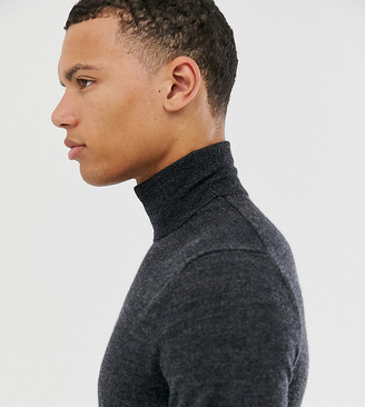 Asos DESIGN Tall merino wool roll neck sweater in black