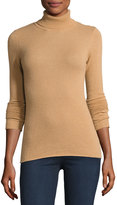 Neiman Marcus Ribbed Cashmere Turtleneck Sweater, Camel
