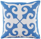 The Well Appointed House Royal Blue Linen Pillow with Oyster Linen Mosaic Applique-