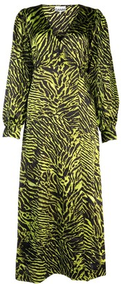 Ganni Tiger Print Wrap Maxi Dress