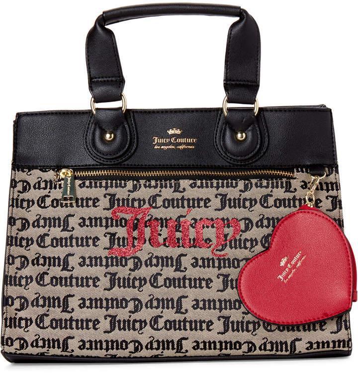 Juicy Couture Beige & Black Popout Heart Satchel