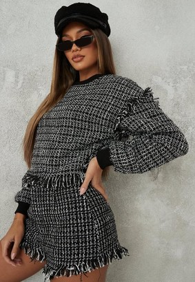 Missguided Black Co Ord Houndstooth Boucle Shorts