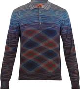 Missoni Striped long-sleeved wool-blend polo shirt