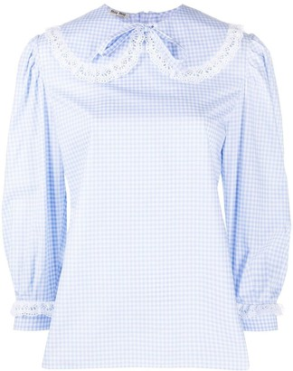 Miu Miu Lace-Embellished Gingham Blouse