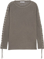 IRO Salim Lace-up Linen-jersey Top - Gray