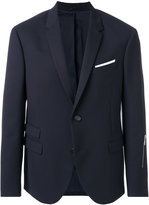 Neil Barrett pocket square blazer with zip detail