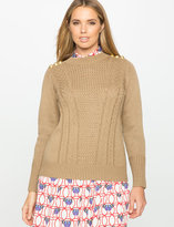 ELOQUII Plus Size Button Shoulder Stitched Sweater