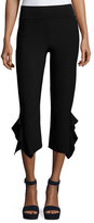 Opening Ceremony Ruffle-Trim Cropped Ponte Pants, Black