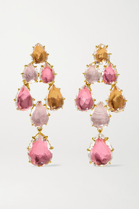 Larkspur & Hawk Caterina Swag 18-karat Gold-dipped Quartz Earrings