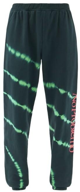 Aries No Problemo Tie-dye Cotton-jersey Track Pants - Black Green