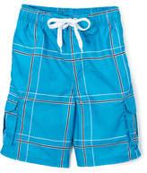 Kanu Surf Boys' Board Shorts Aqua - Aqua Flex Plaid Swim Trunks - Toddler