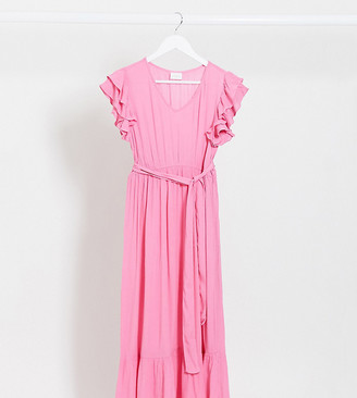 Mama Licious Mamalicious Maternity maxi dress with ruffle trims in pink