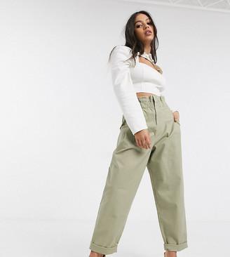 ASOS DESIGN Petite paperbag waist chino trouser in stone