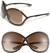 Tom Ford Women's 'Whitney' 64Mm Open Side Sunglasses - Dark Brown