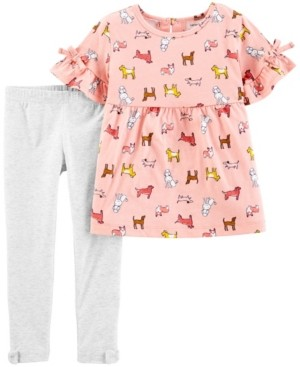 Carter's Baby Girls Dog Jersey Top and Legging Set, 2 Pieces