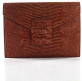 Oscar de la Renta Tan Brown Embossed Leather Clutch Handbag
