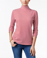 Karen Scott Carmela Striped Turtleneck Top, Only at Macy's