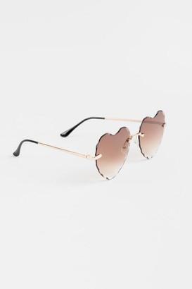 francesca's Vanna Heart Shaped Sunglasses - Brown