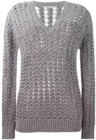 Marco De Vincenzo V-neck open knit jumper - women - Polyester/Viscose/Cashmere/Virgin Wool - 40