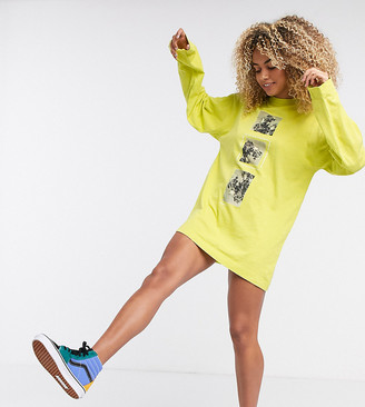Collusion long sleeve t shirt dress with photographic placement print