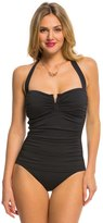 Tommy Bahama Pearl Solids V Front Halter One Piece Swimsuit 8140878