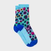 Paul Smith Women's Turquoise Leopard Motif Semi-Sheer Socks