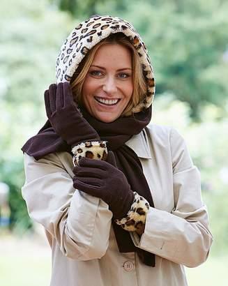 Marisota Faux Fur Trim Fleecy Hood Scarf Gloves