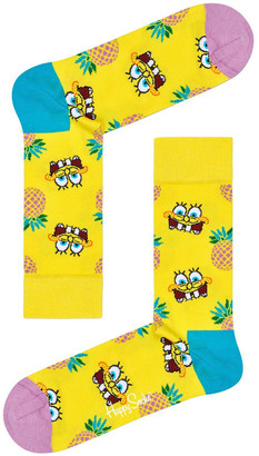 Happy Socks Sponge Bob Fineapple Surprise Crew Sock