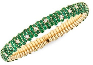 Zydo Stretch 18K Yellow Gold, Tsavorite & Diamond Bracelet