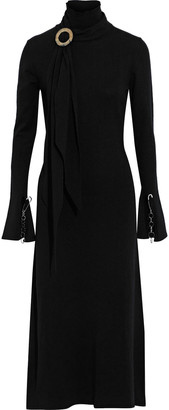 Ellery Emmersion Tie-neck Embellished Stretch-knit Midi Dress
