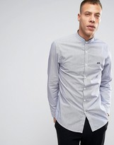 Lindbergh Striped Collarless Shirt Slim Fit in Navy