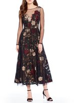Antonio Melani Rose Embroidered Mesh Lace Midi Dress