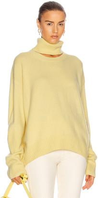 ZEYNEP ARCAY Turtleneck Cutout Sweater in Lemon | FWRD